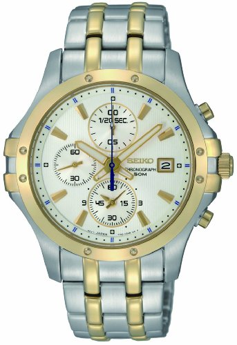 (Seiko Men's SNDC98 Two Tone Stainless Steel Analog with White Dial Watch)