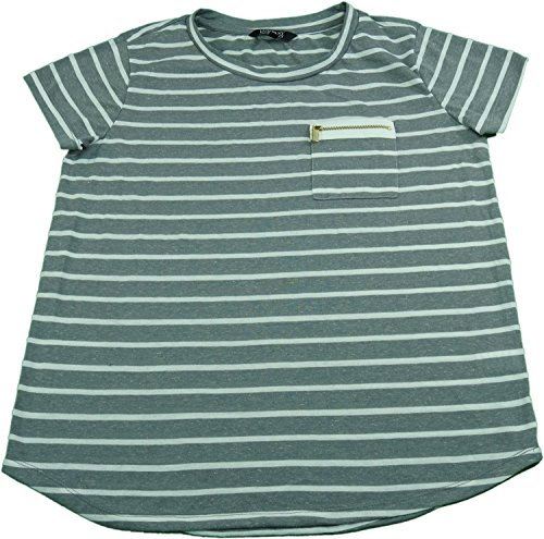 Company Ellen Tracy Size Medium Ladies Shirt Grey And White Stripped