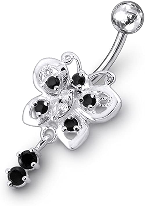 Light Green CZ Crystal Stone Rose in Flower with Teardrop Dangling 925 Sterling Silver Belly Ring Body Jewelry