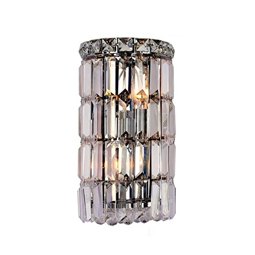 Worldwide Lighting Cascade Collection 2 Light Chrome Finish Crystal Rounded Wall Sconce 6