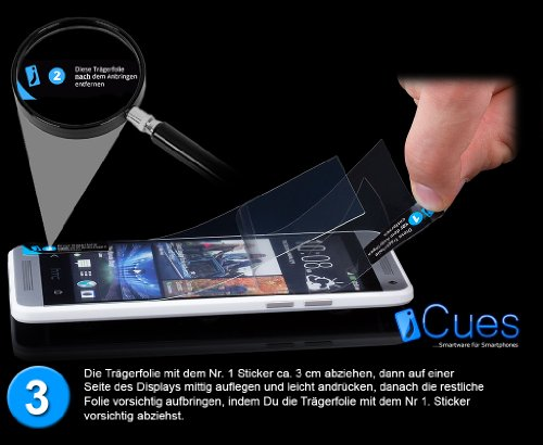 HTC One M7 | iCues plegables turquesa bolsillo | [Protector de pantalla, incluyendo] cuero - libro con bisagras de la manga bolsillo del teléfono celular bolsa protectora para abrir la caja tirón de l Marron