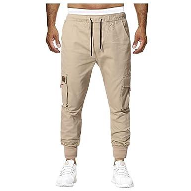 VPASS Pantalones para Hombre, Moda Chándal de Hombres Color sólido ...