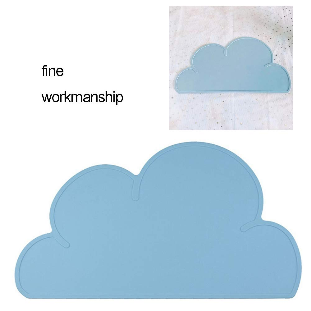 Cloud Silicone Feeding Mat Silicone Placemats for Kids Non Slip Silicone Placemat a Waterproof Table Mat with Cloud Pattern Black 1 Pc