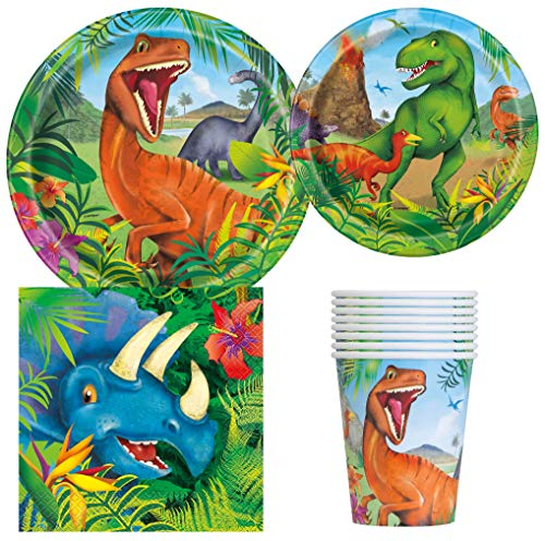 Unique Industries Dinosaur Birthday Party Supplies Pack for 8 Guests Including Lunch Plates, Dessert Plates, Lunch Napkins, Cups -
