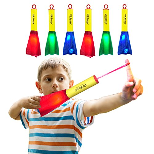 US Sense Boys Toys 6 Pack LED Foam Finger Rockets Slingshot Rocket Copters-Fun Shooting Games for Home Office Camping Party Favors (6 Shot Game)