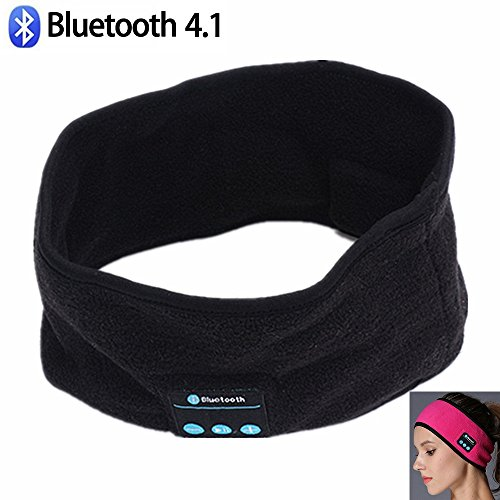 JIAEN Wireless Bluetooth Headset Best Noise Cancelling Running Headphones with Mic Built-in Stereo Speakers Headband Yoga Sports Headband Sleep Headphones (Black)
