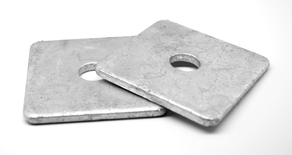 5/8'' x 2 1/2'' x 0.25 Square Plate Washer Low Carbon Steel Hot Dip Galvanized Pk 25 by ASMC Industrial (Image #1)