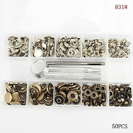 50 piezas de broches de presi/ón de metal resistentes con kit de herramientas de fijaci/ón para ropa de piel Bot/ón de presi/ón BE-TOOL