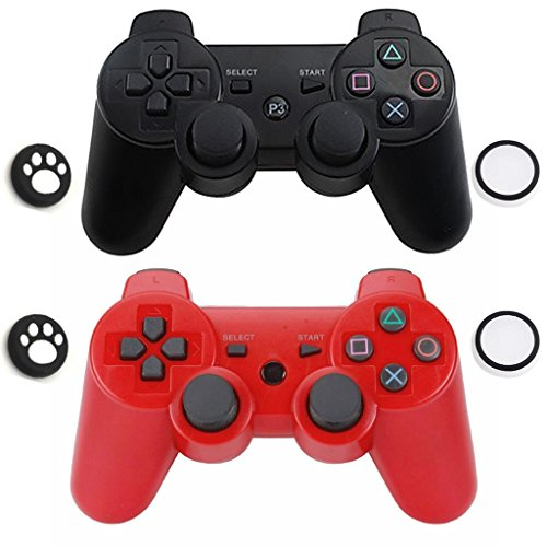 Bluetooth Wireless Dualshock Remote Game Gaming Controller Gamepad Joystick for Bluetooth Conection Game ( 2 Pack ) (Black-Red-1)
