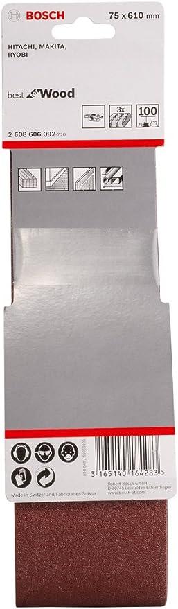 Bosch 2 608 606 063 Set de 3 bandas lijadoras 75 x 508 mm, 100