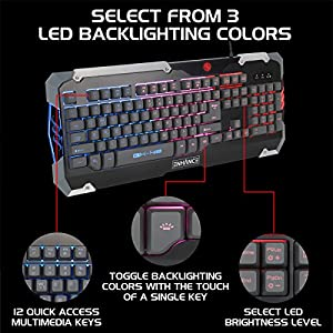 ENHANCE GX-K2 Gaming Keyboard with 104 Hybrid Mechanical Feel Keys , LED Backlit , & Braided Cable - 3 Color Selection , Multimedia Shortcuts , & Plug & Play USB Connection - PATHOGEN Series