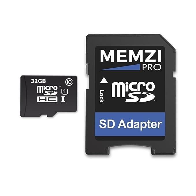MEMZI Pro - Tarjeta de Memoria Micro SDHC de 32 GB (Clase 10, 90 MB/s, con Adaptador SD) para Tomtom Go o Go Live Sat Navs