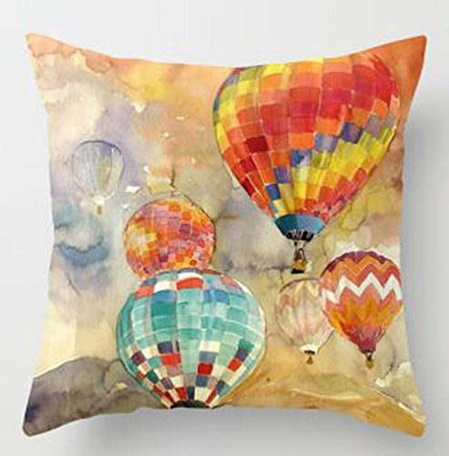 Hot Air Balloon Video - Oil Painting Series Hot Air Balloon Throw Pillow Case Cushion Cover Decorative Cotton Blend Linen Pillowcase for Sofa 18