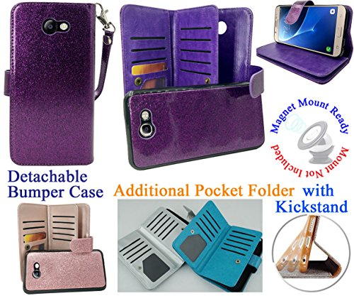 Case Mag Armor (for Samsung J7 2017 Sky Pro PERX J7 V Phone Case Wallet Mag Mount Ready Detachable Bumper Extra Pocket Hybrid Stand Purse Screen Flip Cover (Purple))