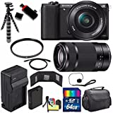 Sony Alpha a5100 Mirrorless Digital Camera with 16-50mm Lens (Black) + Sony E 55-210mm f/4.5-6.3 OSS E-Mount Lens 64GB Bundle 21 - International Version (No Warranty)