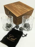 Image of Whiskey Stones Gift Set by Cask Preserve | 8 Granite Whisky Rocks | 2 Crystal Whiskey Glasses | Velvet Bag | Stylish Wooden Box | Chill your Spirit without Dilution