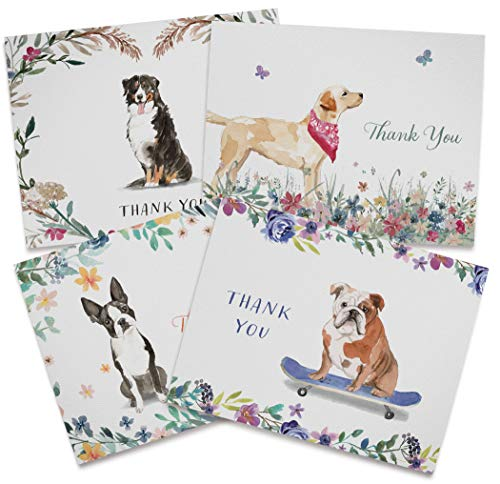 Dog Thank You Cards - 12 Recycled Cards and Envelopes - 4 Unique Note Card Designs - Made in USA
