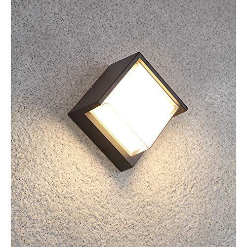 Pathson Outdoor Wall Lamp 8W 3000K LED Lights Waterproof Modern Simple Lighting Fixtures Warm White Indoor Wall Mount Sconce for Hotel Porch Courtyards Matte Black Finished (S-Warm Light)