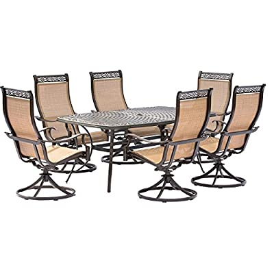 Hanover MANDN7PCSW-6 7 Piece Dining Set with 6 Rockers & Dining Table Outdoor Furniture, Tan - Set includes one cast-top Dining Table and six swivel rockers Heavy duty rust-resistant Frames:  durable all-weather construction with rust-resistant aluminum frames Comfortable seating:  heavy duty sling fabric chairs that are comfortable and easy to clean - patio-furniture, dining-sets-patio-funiture, patio - 51gPd1iKYaL. SS400  -