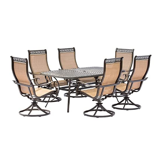 Hanover MANDN7PCSW-6 7 Piece Dining Set with 6 Rockers & Dining Table Outdoor Furniture, Tan - Set includes one cast-top Dining Table and six swivel rockers Heavy duty rust-resistant Frames:  durable all-weather construction with rust-resistant aluminum frames Comfortable seating:  heavy duty sling fabric chairs that are comfortable and easy to clean - patio-furniture, dining-sets-patio-funiture, patio - 51gPd1iKYaL. SS570  -