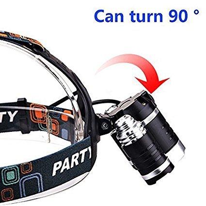 Linterna LED de alta potencia KEKU (5000 lúmenes MAX) Linterna impermeable recargable de la linterna en el faro principal con 3 modos de Tm 4 xm-l 4, cargador de pared y cargador de auto para deportes al aire libre (gris)