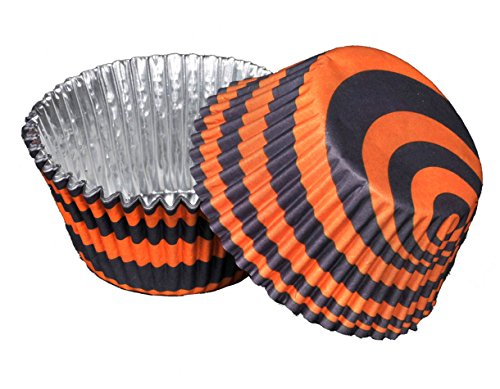 Stripe Party Cupcake Liner (Navy and Orange Auburn Stripes, foil backed) Tiger Stripe Party Collection By Havercamp   ()