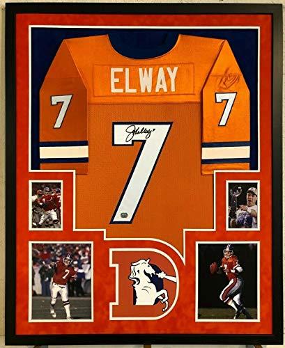 FRAMED JOHN ELWAY AUTOGRAPHED SIGNED INSCRIBED DENVER BRONCOS JERSEY MM - Elway Jersey Autographed John