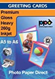 A5 Inkjet Greeting Card Paper Gloss Super 260g X 50 Cards