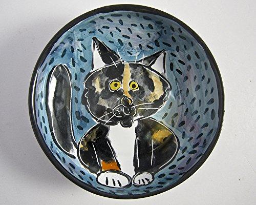 Calico Cat Ceramic Feeding Dish Bowl Clay Pottery Majolica Handmade Turquoise blue
