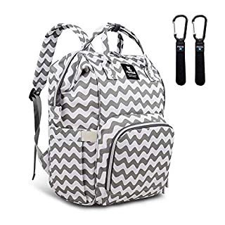 Hafmall Diaper Bag Backpack - Waterproof Multifunction Large Baby Travel Bag (Chevron)