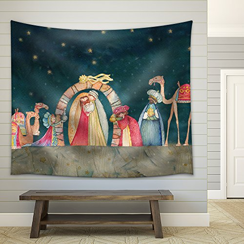 wall26 - Illustration Christian Christmas Nativity Scene with the Three Wise Men - Fabric Wall Tapestry Home Decor - 51x60 inches by wall26