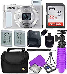 Canon PowerShot SX620 HS Wi-Fi Digital Camera (Silver) with Sandisk 32 GB SD Memory Card + Extra Battery + Tripod + Case + Card Reader + Cleaning Kit