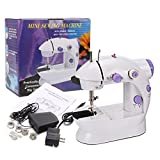 2-Speed Mini sewing machine with Double Thread,White/Purple