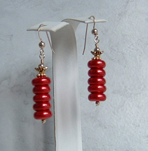 Cute Cranberry Red Glass Rondelle Gold Filled Earwires (Easy Comfortable Costumes)