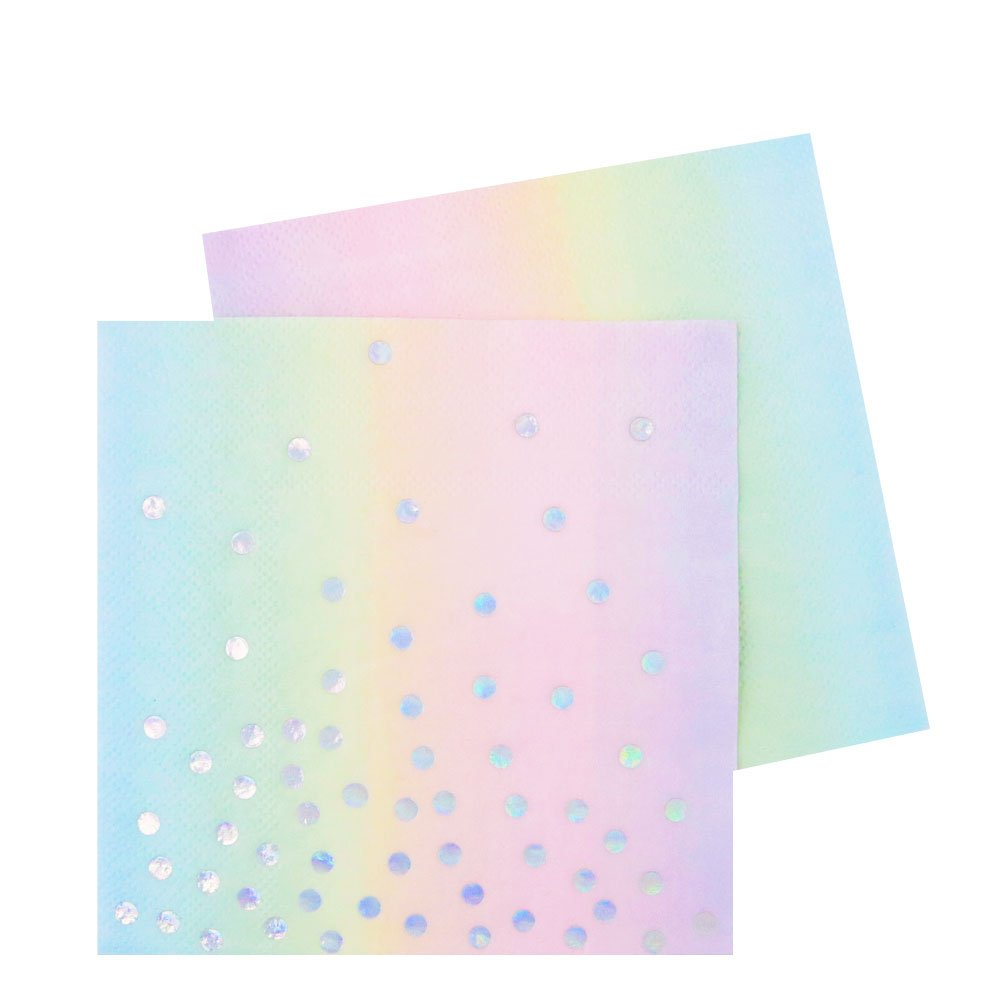 Illume Partyware Iridescent and Pastel Cocktail Napkin, Disposable, 20 Count, 12.5 cm, 3 ply for Birthday Party, Kids Party and Unicorn Party