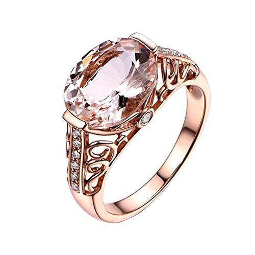 TREESTAR Fantasy Rose Gold Morganite Ring Men Women Love Romantic Crystal...