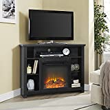 WE Furniture 44-inch Wood Corner Highboy Fireplace TV Stand - Black