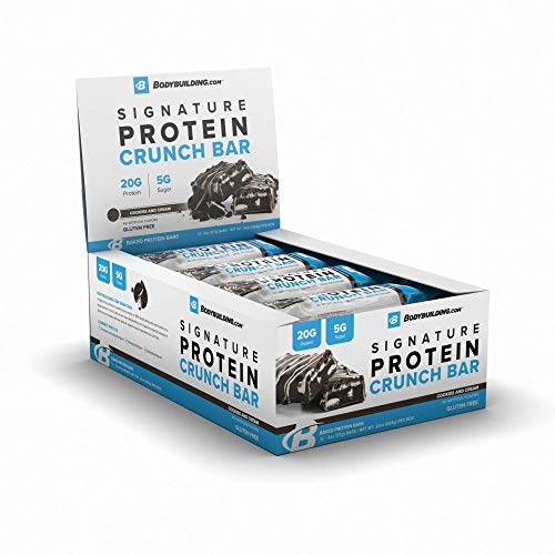 BodyBuilding.Com Signature Protein Crunch Bar | 20g Whey Protein Low Sugar | Gluten Free No Artificial Flavors | 12 Bars (Cookies & Cream)