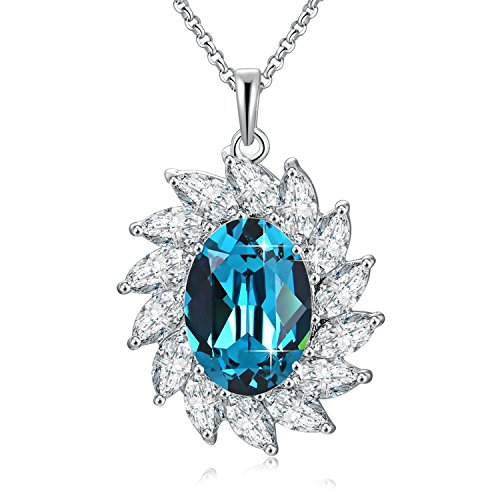 SUE'S SECRET Crystal Birthstone Necklace Love Smiling Sunflower Pendant Necklace with Swarovski Crystals, 18, Birthstone Gifts for Women, Thanksgiving