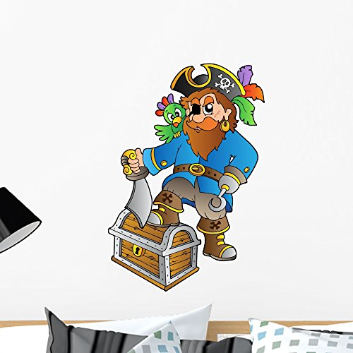 Wallmonkeys FOT-30090815-24 WM119003 Pirate Standing on Treasure Chest Peel and Stick Wall Decals (24 in H x 17 in W), Medium ()