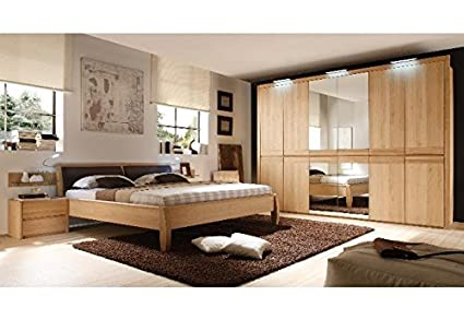 Schlafzimmer komplett Yuma Eiche Bianco 6-türig Holz: Amazon ...