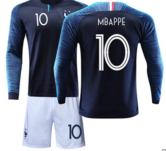 new arrival 3adda b4a6f LISIMKE France Soccer Team Mbappe #10 Kid Youth Replica Jersey Kit : Jersey  & Shorts & Socks