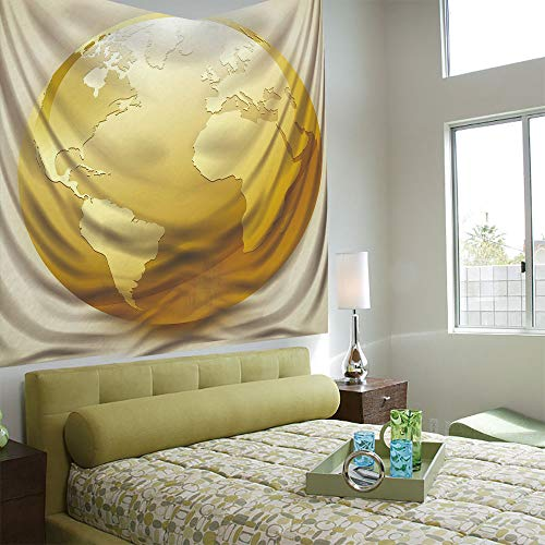 (AngelSept Tapestry Wall Hanging 3D Printing Tree Tapestry Wall TapestryLiving Room Bedroom,Earth,Vivid Style Earth Icon in Yellow Color World Sphere Global International Theme Decorative,Yellow Beige)