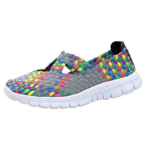 (♡QueenBB♡ Women's Slip On Walking Shoes Woven Stretch Mesh Loafers Lightweight Mary Jane Flat Sneakers Multicolor Gray)