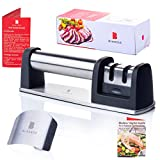 Manual Knife Sharpener by Bladess | 2 Stage Sharpening Tool + Stainless Steel Adjustable Finger Guard + Bladess' Digital Guide for a Healthier Version of You