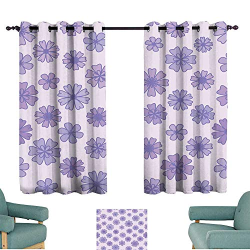 Warm Family Fresh Curtains Seamless Flat Violet Flower Background Vector Floral Wallpaper 70%-80% Light Shading, 2 Panels, ()