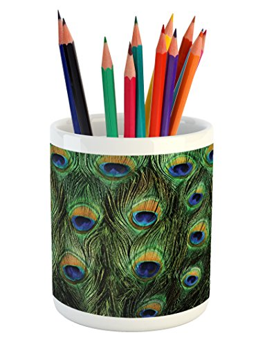 Ambesonne Peacock Pencil Pen Holder, Peacock Tail Feathers Tropical Exotic Animals Close-up Picture Artwork, Printed Ceramic Pencil Pen Holder for Desk Office Accessory, Green Mustard Navy