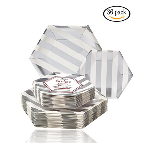 PARTY DISPOSABLE 36 PC DINNERWARE SET | 18 Dinner Plates | 18 Side Plates | Heavy Duty Paper Plates | Hexagon Design | for Upscale Wedding and Dining (Stripe Collection - White/Silver) -