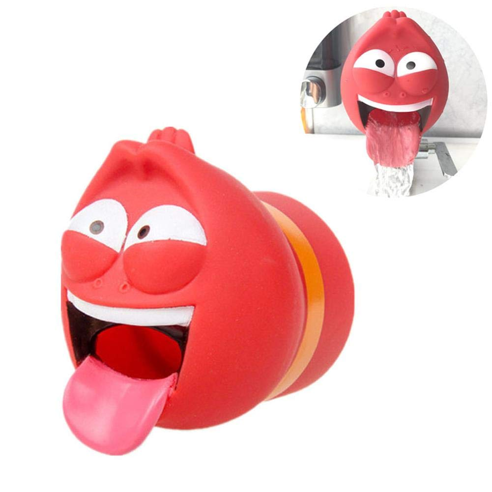 Larva Faucet Extender Child Washing Hands Water Diverter, Cartoon Image Silicone Sink Develop Baby Self-Help Ability Wash Your Own Hands,Red by LPVIE