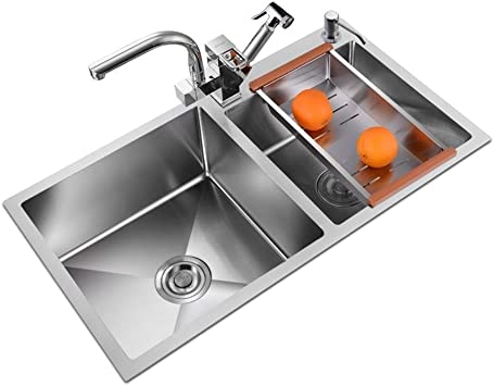 Hcchzr Double Bowl Stainless Steel Kitchen Sink Thick Stainless Steel Silver Size 72cm Amazon Com